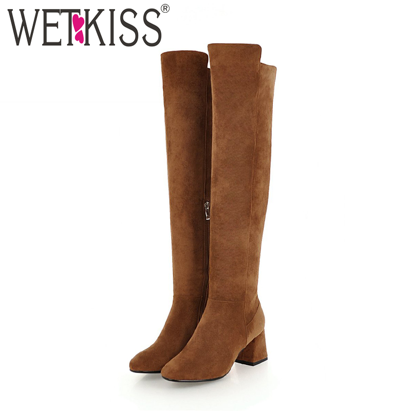 WETKISS New High Heels Women Boots Round Toe Zip Thick Plush Footwear Flock Female Boot Over