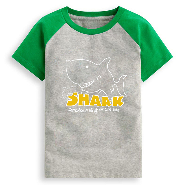Summer short-sleeved T-shirt cotton tops for boys shark cartoon undershirt tops for boy Baby Boys T shirt Children Clothes