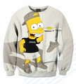 Real USA Size Curstom made Yezzy Bart Funny Carton 3D Sublimation print Crewneck Sweatshirts plus size
