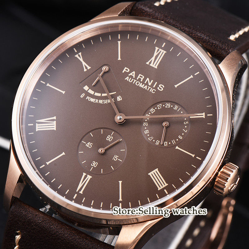 42mm parnis coffee dial rose case power reserve ST1780 date automatic men watch цена