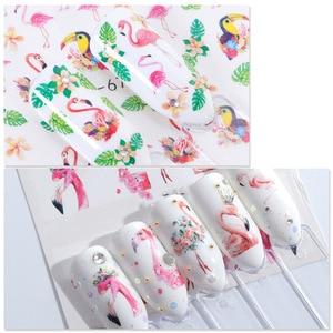 Image 4 - 12Pcs Flamingo Nail Sticker Bloem Blad Water Decal Transfer Nail Sliders Zomer Tattoo Nail Art Decoratie Tip JIA1537 1548 1