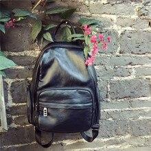 Ретро черный мода новый рюкзак искусственная кожа мягкая женская сумка Повседневный рюкзак для прилив женщина леди бренд колледжа школьный
