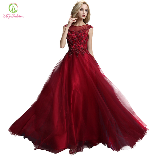 Clearance SSYFashion Evening Dress Married Red Wine Long Lace Embroidery  Beading Aline Banquet Party Formal Gown 59f4573303f2