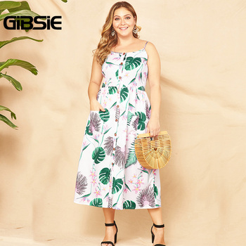 GIBSIE Plus Size Button Front Pocket Women Print Long Dress Summer 2019 Holiday Boho Sleeveless Spaghetti Strap Beach Dress