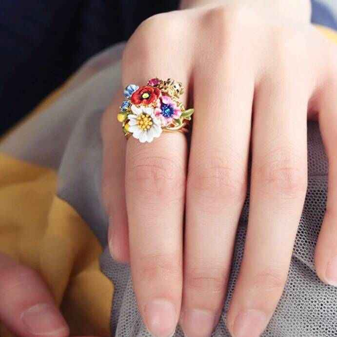 2018 Amybaby Luxury Enamel Glaze Red Flowers Daisy ladybird Womens Ring Jewelry For Party