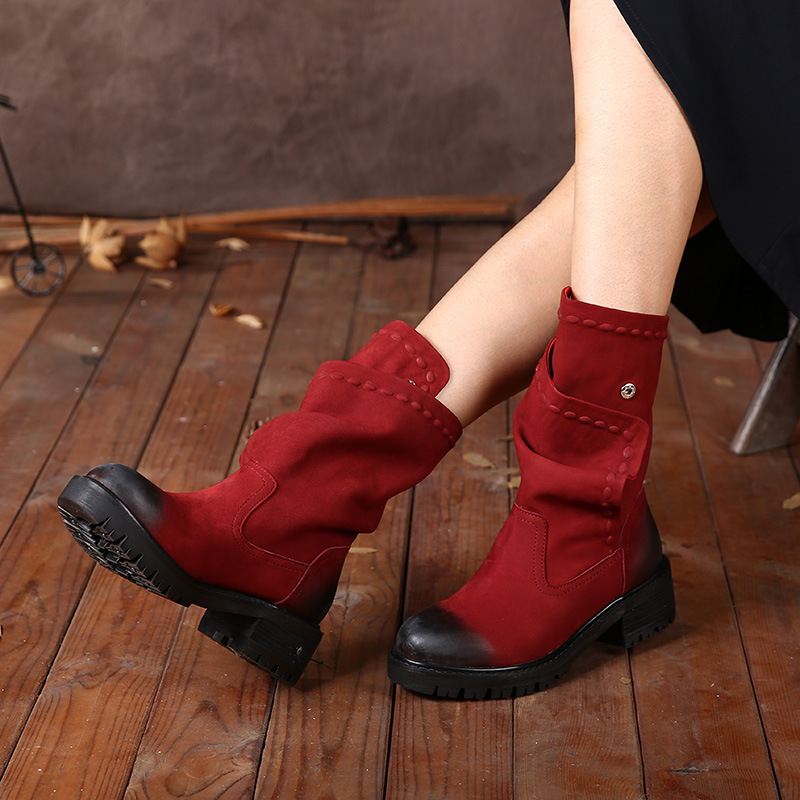 2018 Autumn Winter Genuine Leather Shoes Women Boots Round Toes Low Heels Button Handmade Women Mid Calf Boots