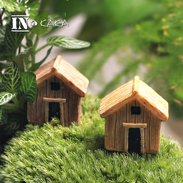Micro fairy garden figurines kawaii wood board house miniatures/terrarium doll house decor/succulents DIY ornaments accessories 2