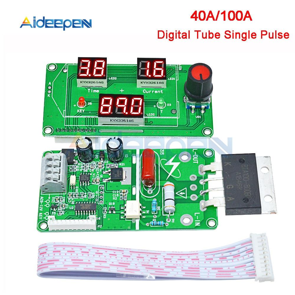 40A 100A Spot Welder Control Module LED Digital Single Pulse Encoder Spot Welding Time Transformer Controller 0-999 Sec Red