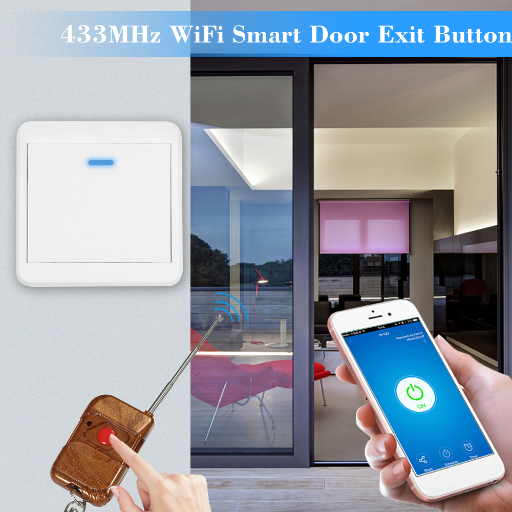 Push-Switch Wifi Electronic-Door 433mhz Ewelink Lock-Sensor Access-Control-System Exit-Button