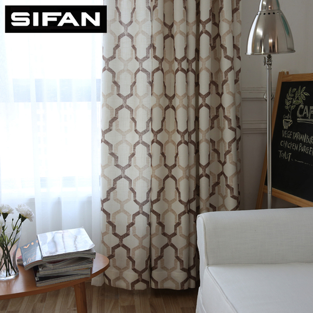 Japan Style Geometric Pattern Printed Linen Curtains For Bedroom Living Room Modern Window Curtain Drapes
