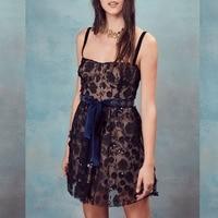 Women Love Beatrice Mini Dress In black 3 D Embroidery and Sequin Flowers Spaghetti Straps Underwire Cups Mini Dress