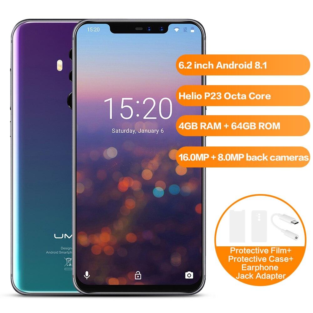 UMIDIGI Z2 4g Phablet 6.2 pouce Helio P23 Octa Core 4 gb + 64 gb Smartphone En Fiber De Carbone Crépuscule z2 SE