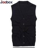 JOOBOX Brand 2017 New Arrival Autumn Winter Cardigan Knitted Sweater Vest Men Sleeveless Standard Wool Grey