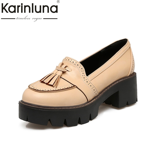 149d8ccb388 KarinLuna British Style School Girl s Tassel Oxfords Vintage Chunky Heels  Platform Shoes Woman Big Size 33-43