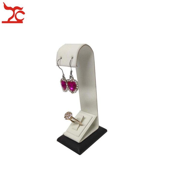 Personalizado blanco negro anillo pendiente conjunto de joyas pantalla estante