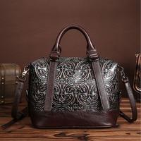 Vintage Trend Women Genuine Leather Tote Bag Casual Crossbody Messenger Shoulder Bags Famous Brand Embossed Cowhide Handbag