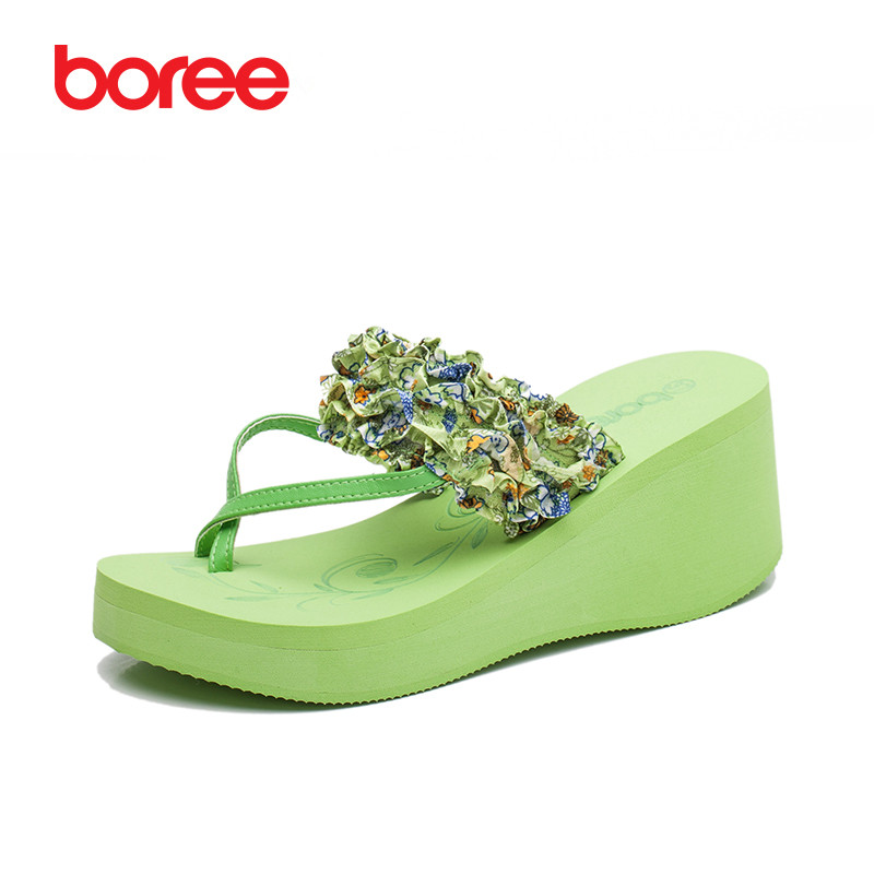 Boree Women Summer Beach Shoes Fashion Platform Floral Cloth&Leather Sandals Open Toe Flip Flops Thick Soles Casual Slippers 25 mudibear women sandals pu leather flat sandals low wedges summer shoes women open toe platform sandals women casual shoes