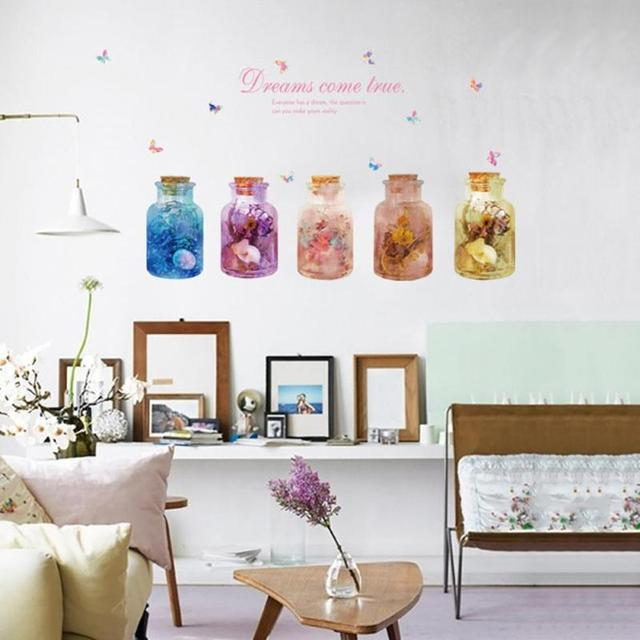 Dream Flower Wish Glass Bottle Wall Stickers Home Decor Living Room 3decor  Diy Posters Wall Decals