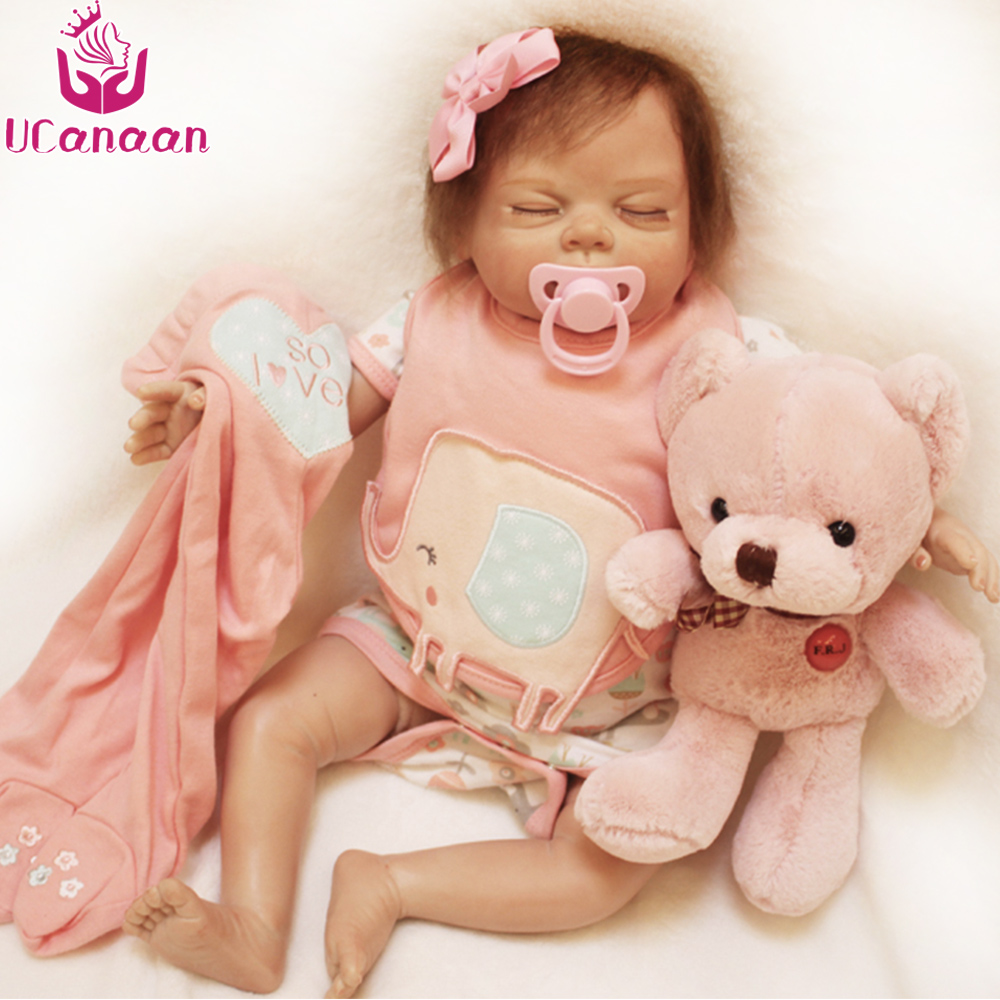UCanaan 22''/ 55CM Soft Vinyl Silicone Baby New Born Sleeping Baby Alive Toys For Children Play House DIY Toy Christmas Gifts