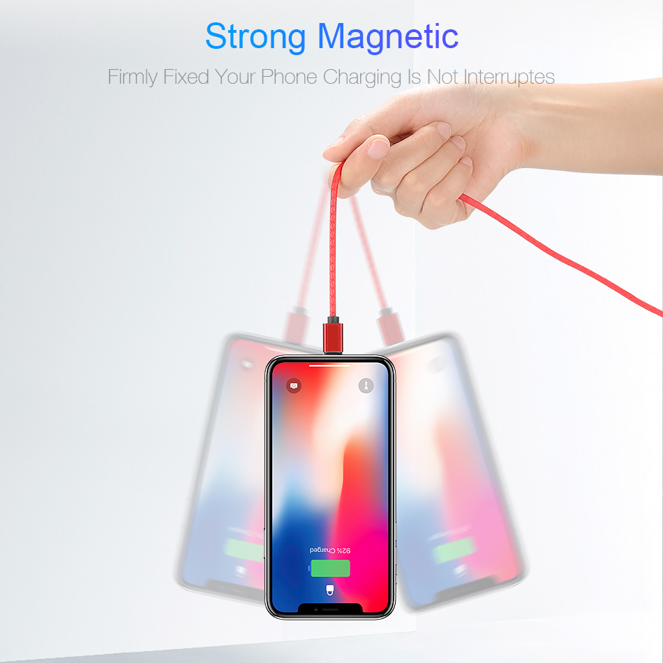 Magnetic Charging USB Cable Quick Charge for iPhone X XS MAX USB Charger USB Type C 3A Phone Fast Charge Micro Phone USB Cable in Mobile Phone Chargers from Cellphones Telecommunications