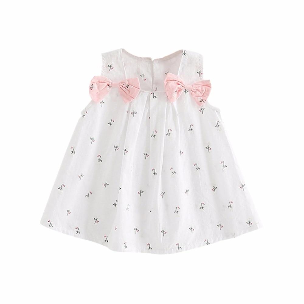 Summer Kids Clothes Baby Girls Dresses Suspenders Print Bow Vest Children Clothing Vestidos 0-2T New