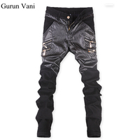 New Autumn Winter Men S Skinny Leather Pants Motorcycle Faux Leather Stitching Brand Sweatpants Jeans Free