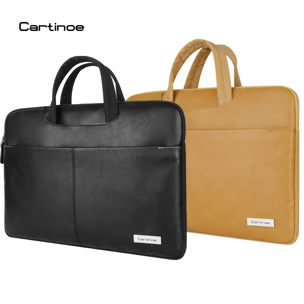 Cartinoe New PU Leather Waterproof Laptop Bag 15 14 13.3 Laptop Sleeve case for Macbook Air Pro 13 15 Retina Handbag Briefcase hot pu leather sleeve case for macbook air 11 air 13 retina 13 3 inch pro 15 4 envelope bag wholesales free drop shipping