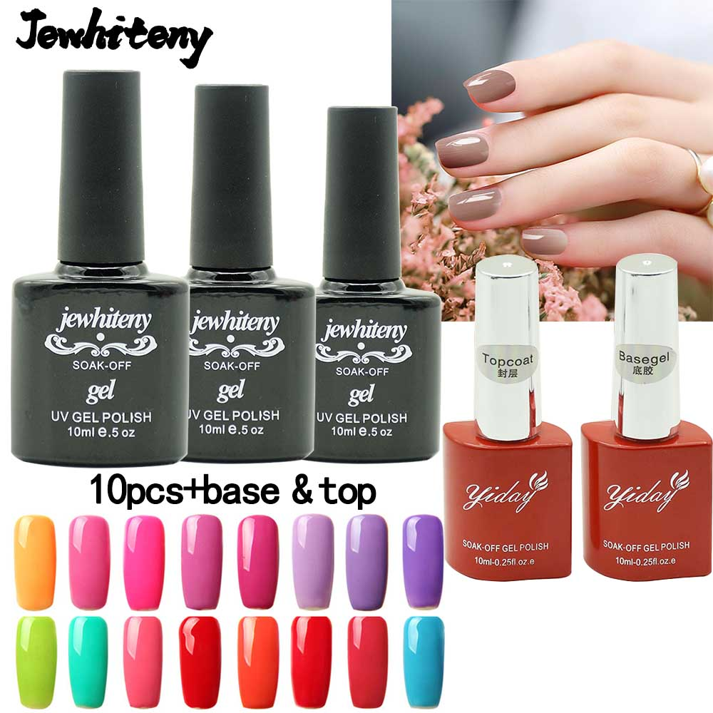 10ML*10pcs UV nail Gel nail Polish Set & Kit base gel top coat Long-lasting Soak-off LED UV Gel Nail Lacquers Nail Art tools new cnd shellac nail gel polish gel long lasting soak off gel nail led uv 7 3ml