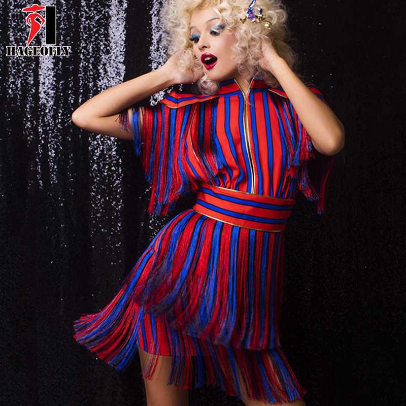 HAGEOFLY Short Sleeve Tassel Red Blue Striped Dress Runway Dress Summer  Women Sexy Party Dresses 2018 33d200ad6f7a
