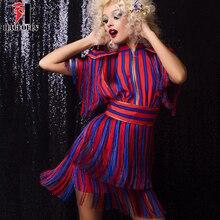 HAGEOFLY короткий рукав кисточкой красные, синие платье в полоску взлетно-посадочной полосы платье летом Для женщин пикантные Платья для вечеринок 2018 Новое поступление Vestido XL