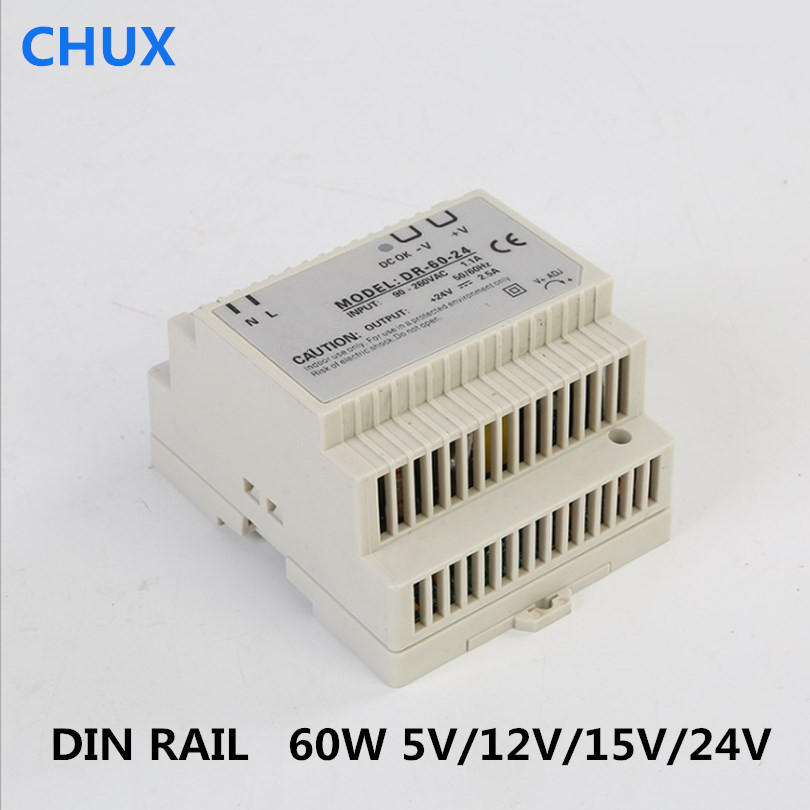цена на DR 60W 5v 12V 15v 24V 5a 2.5a 12a Single Output AC TO DC Din Rail Type Switching Power Supply 60W