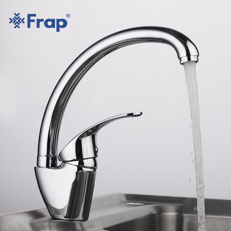Frap High Quality Kitchen Faucets Silver Single Handle Flexible Mixer Tap Swivel Spout Cold and Hot Water Mixer Kitchen musluk-in Kitchen Faucets from Home Improvement    1
