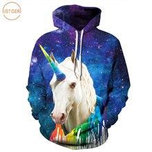 aea16debe98d2 ISTider azul Space Galaxy Sudaderas 3D unicornio vistiendo coloridos  pintura Sudadera con capucha impresa Sudadera con capucha