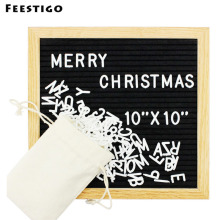 Feestigo DIY Wooden Black Felt Letter Board 10x10 Inches Changeable Square Boards Frame Home Decoration Plaques & Signs