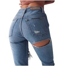 Women Petite Extreme Ripped Jeans Fashion Distressed Design Non-stretch denim Ankle Length Pants Sexy Ripped Hip Jeans