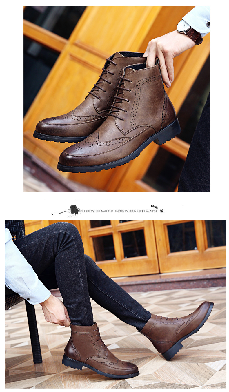 Misalwa New Men PU Leather Ankle Oxford Boots British Style Male Casual Lace Up Derby Shoes Retro Carved Flower Brogue Shoes