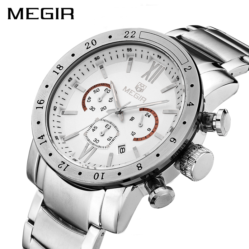 MEGIR Original Quartz Men Watch Stainless Steel Business Wrist Watches Clock Men Big Dial Waterproof Luminous Relogio Masculino geneva men s large dial cool quartz stainless steel business wrist watch