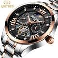 KINYUED Männer Sport Automatische Mechanische Uhr Wasserdicht Luxus Marke Tourbillon Edelstahl Herren Uhren Relogio Masculino-in Mechanische Uhren aus Uhren bei