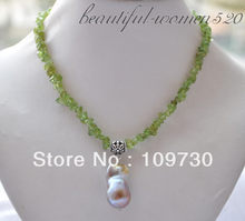 Jewelry 00412 30mm lavender baroque keshi reborn pearl pendant olivine necklace 16inch(China)