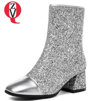 ZVQ women shoes 2018 new fashion sexy sequined colth zipper square toe high square heel winter warm silver party mid calf boots