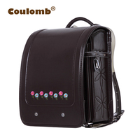Coulomb Japan School Backpack Orthopedic Randoseru Bag For Girl PU Flowers Children Backpack Kids & Baby Bags Book Bags 2020 New