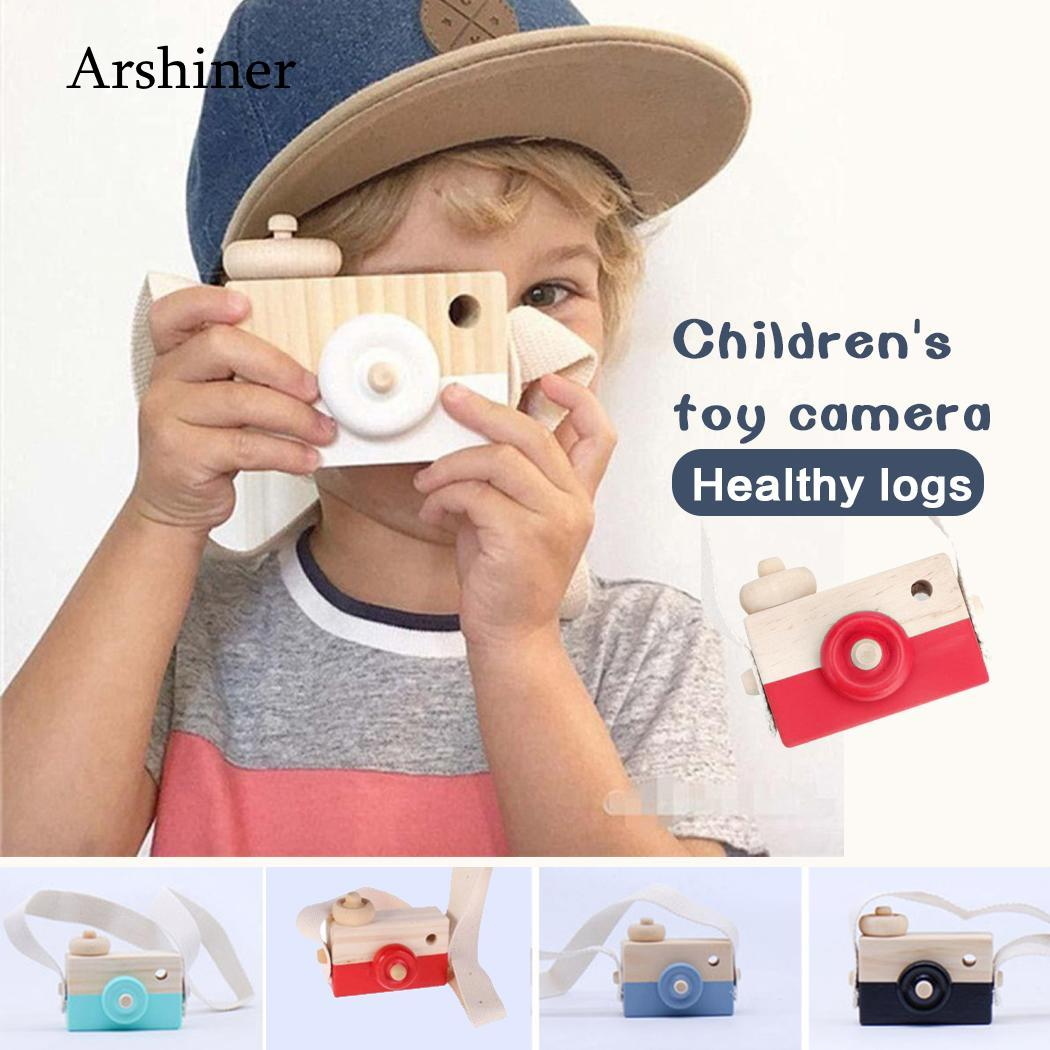 Cute Nordic Hanging Wooden Camera Toys Kids Toys Gift  Decor Furnishing Articles Christmas Gift For Kid Wooden Toy