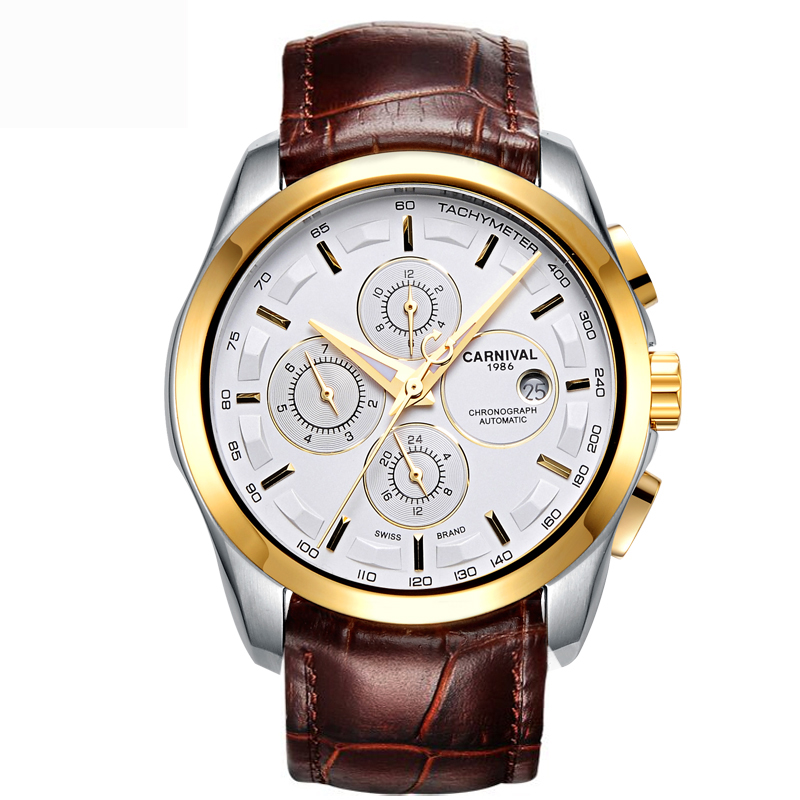 Carnival Watch Men gold Stainless steel Sapphire glass Automatic Mechanical brown leather waterproof Watch