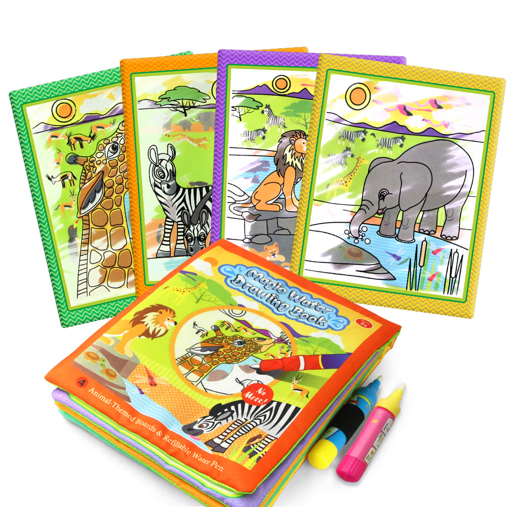 African Animal Themed Non-toxic Water Drawing Cloth Book With 2 Magic Pen Multi-color Reusable Educational Recognize Toy For Kid