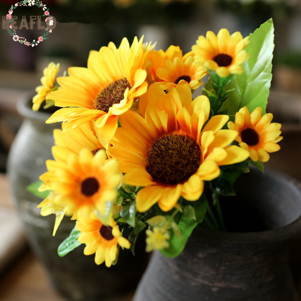 1Bunch Artifical Flowers 7 Branches Sunflower Bouquet For Home Wedding Party Decorative Flower Floristry