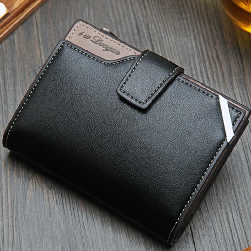 New Korean Casual Men's Wallet Short Vertical Locomotive British Casual Multi-function Card Bag Zipper Buckle Triangle Folding 5