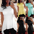 2017 Women Summer Blouse Casual O-neck Short Sleeve Peplum Waist Blusas Sexy Slim Irregular Hem Tops Shirts Plus Size S-4XL
