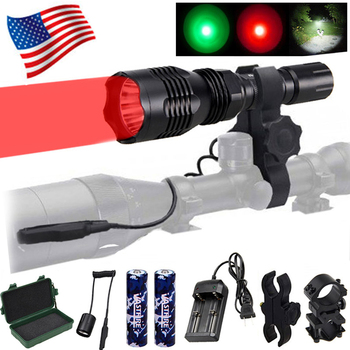 Gun Light 3 in 1 L2 White/T6 Green/XPE Red Tactical hunting Flashlight+Picatinny Rifle Scope Airsoft Mount+Switch+18650+Charger 10w ir 940nm infrared night vision hunting flashlight led outdoor tactical weapon torch 18650 charger 3 rifle scope mount switch