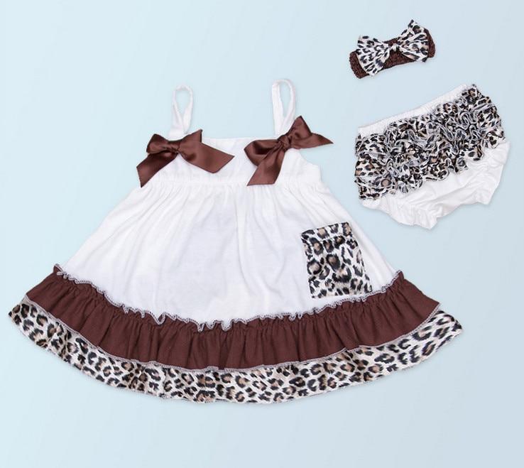 Baby Girl Bow Bavlna Tops šaty Leopard volániky Bloomers kalhotky Headwear 3 kusy oblek Newborn šaty Sady oblečení Hot dárky