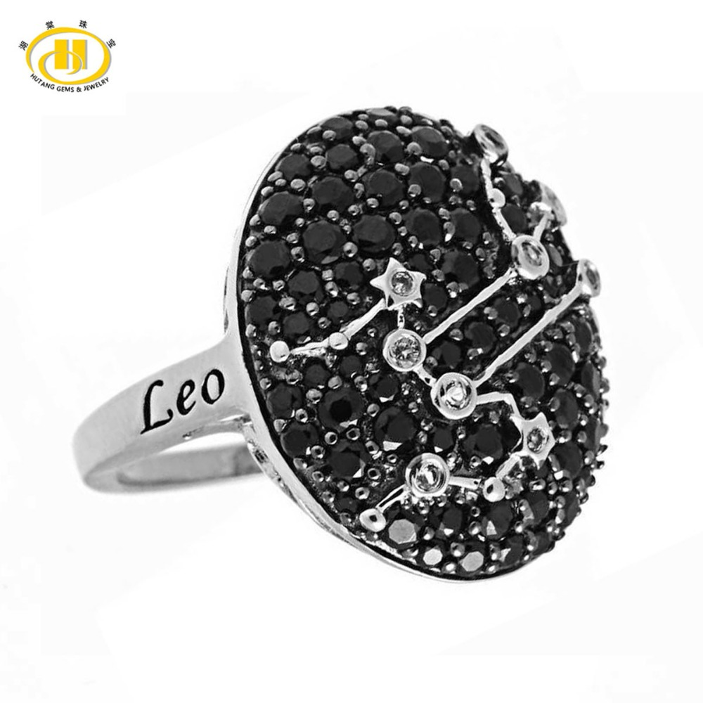 Hutang New Leo Zodiac Natural Black Spinel & White Topaz Ring Solid 925 Sterling Silver Fine Jewelry Womens Birthday Ring GiftHutang New Leo Zodiac Natural Black Spinel & White Topaz Ring Solid 925 Sterling Silver Fine Jewelry Womens Birthday Ring Gift